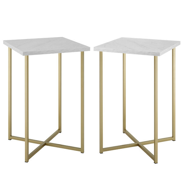Faux White Marble and Gold Wood Square Side Table, Set of Two, image 2