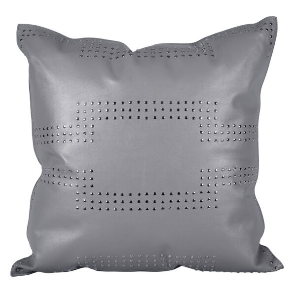 Gray 20 In. X 20 In. Geometric Studded Leather Throw Pillow, image 1
