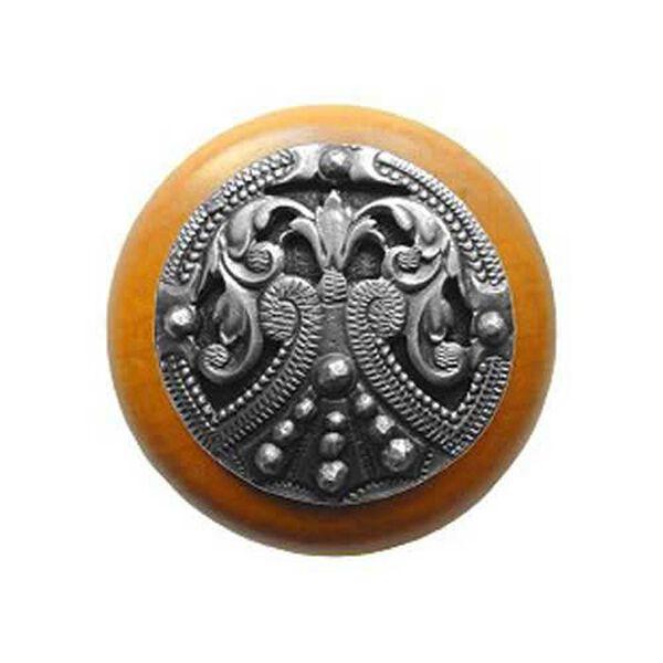 Maple Regal Crest Knob with Antique Pewter, image 1