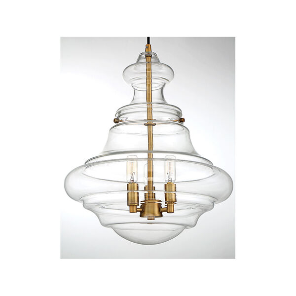 Whittier Natural Brass Three-Light Pendant, image 5