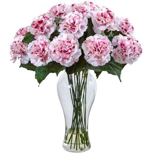 White Mauve Blooming Carnation Arrangement with Vase, image 1