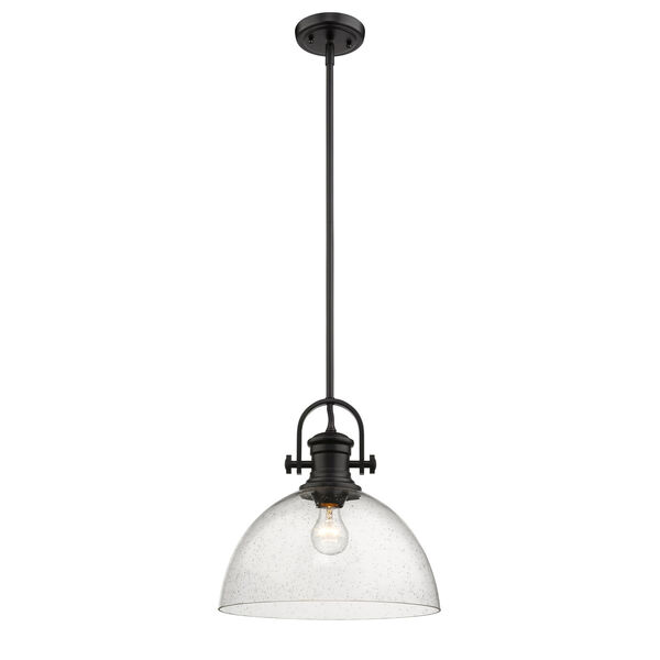 Hines Black 14-Inch One-Light Pendant with Seeded Glass, image 2