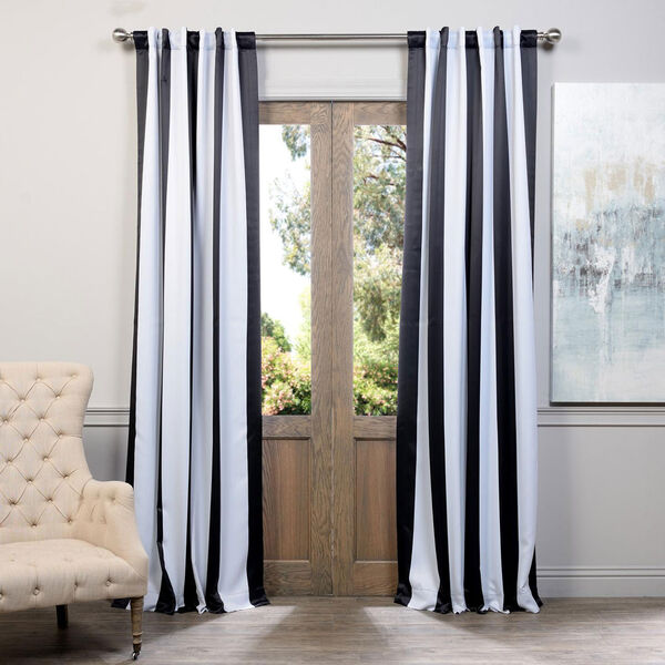 Awning Black and White Stripe 108 x 50-Inch Blackout Curtain Single Panel, image 1