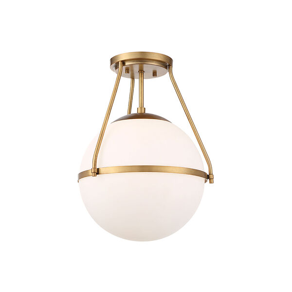 Nicollet Natural Brass One-Light Semi Flush Mount with White Opal Glass, image 5