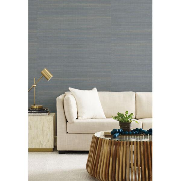Antonina Vella Elegant Earth Blue Abaca Weaves Wallpaper, image 1