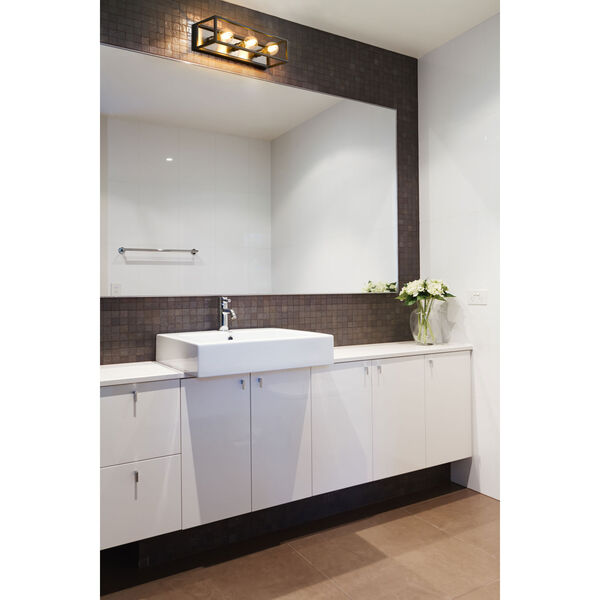 Kube Matte Black and Brushed Nickel Three-Light Bath Vanity, image 2