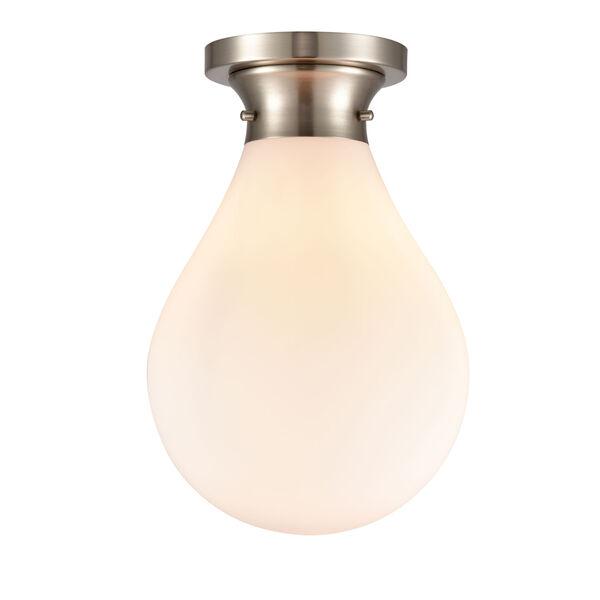 Genesis Satin Nickel 10-Inch LED Flush Mount with White Glass Shade, image 1