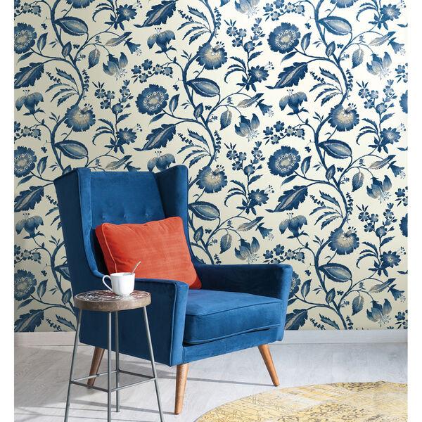 Ashford House Tropics Off-White and Blue Watercolor Jacobean Wallpaper, image 3