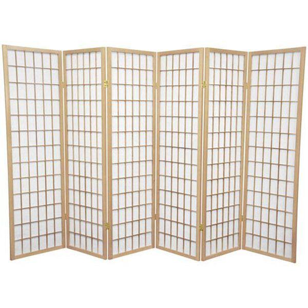 Natural Five Ft. Tall Window Pane Shoji Screen, Width - 102 Inches, image 1