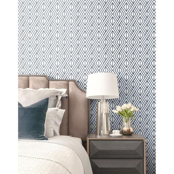 NextWall Navy Diamond Geometric Peel and Stick Wallpaper, image 3