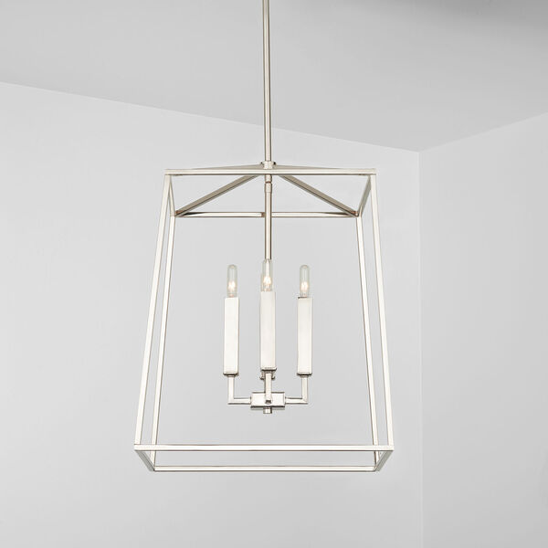 Thea Polished Nickel 71-Inch Four-Light Foyer Pendant, image 3