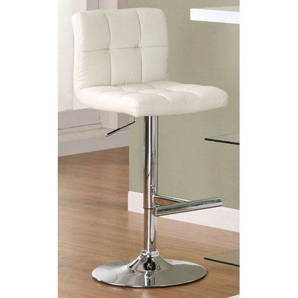 White Adjustable Stool with Padded Straight Line Back, image 1