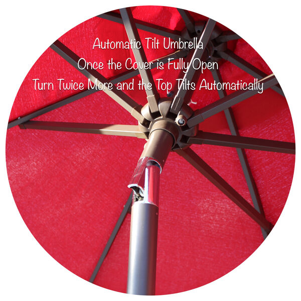 Red Nine-Feet Outdoor Umbrella, image 2