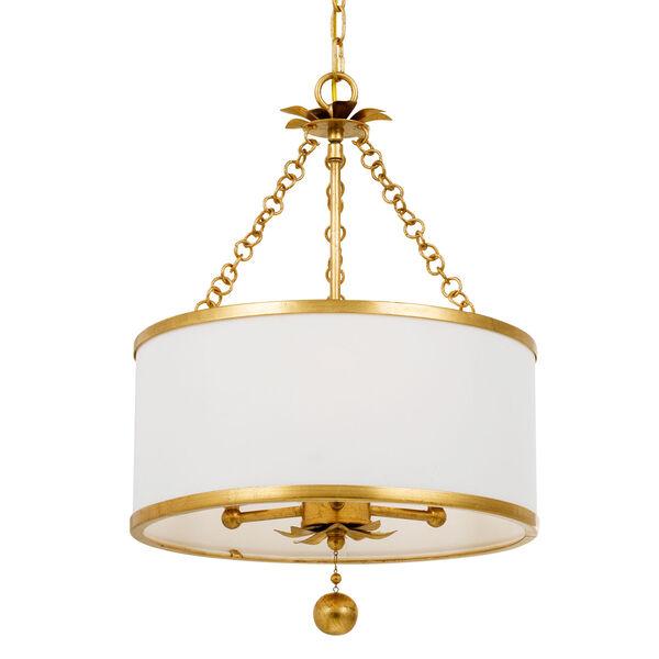 Broche Antique Gold Three-Light Chandelier, image 1