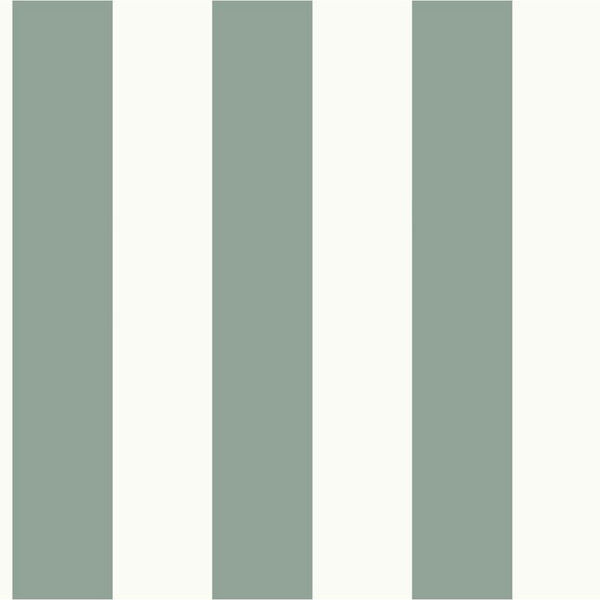 Awning Stripe Green and White Removable Wallpaper- SAMPLE SWATCH ONLY, image 1