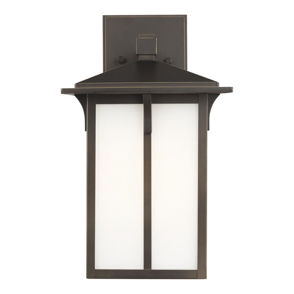 Tomek Antique Bronze Eight-Inch One-Light Outdoor Wall Sconce with Etched White Shade, image 1