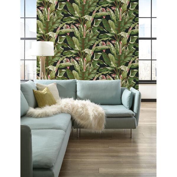 Ashford House Tropics Black and Green Banana Leaf Wallpaper, image 3