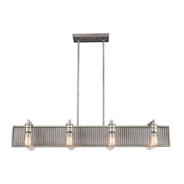 Corrugated Steel Weathered Zinc and Polished Nickel Eight-Light Pendant, image 2