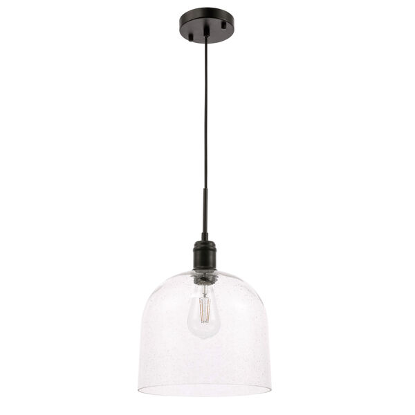 Gabe Black 10-Inch One-Light Pendant with Clear Seeded Glass, image 5