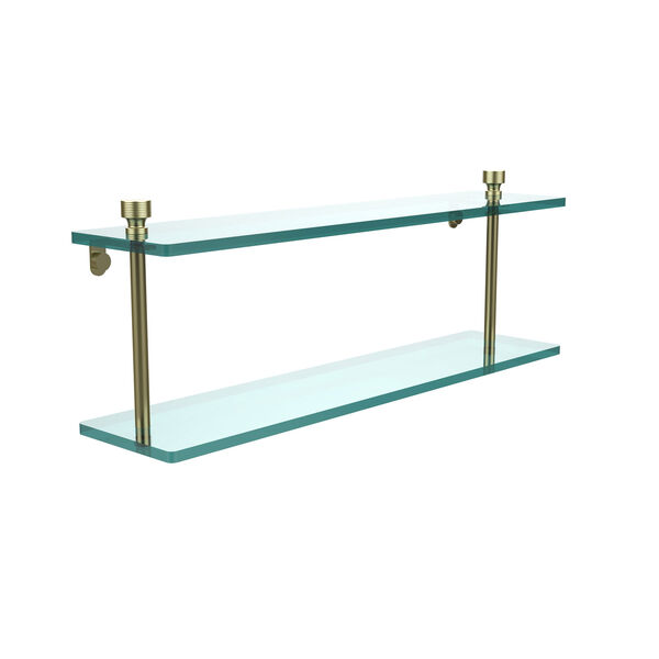 Foxtrot Satin Brass Double Shelf, image 1