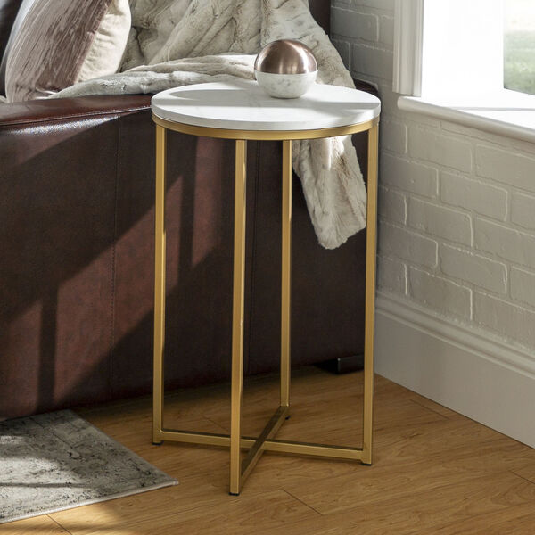 Alissa Faux White Marble and Gold Metal X-Leg Side Table, Set of Two, image 1