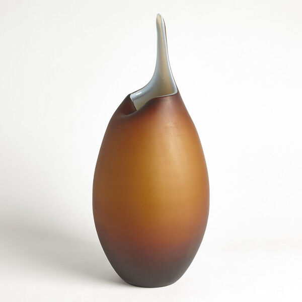Frosted Amber and Blue Casing Vase, image 3