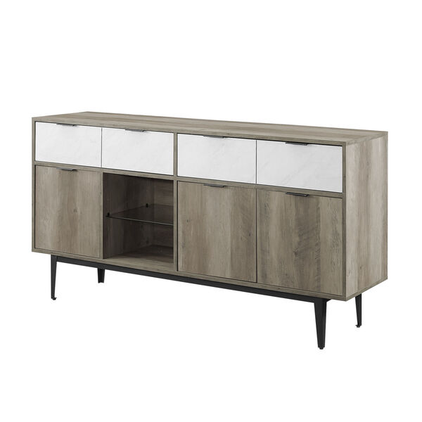Baltic Faux White and Gray Sideboard with Two Drawer, image 1
