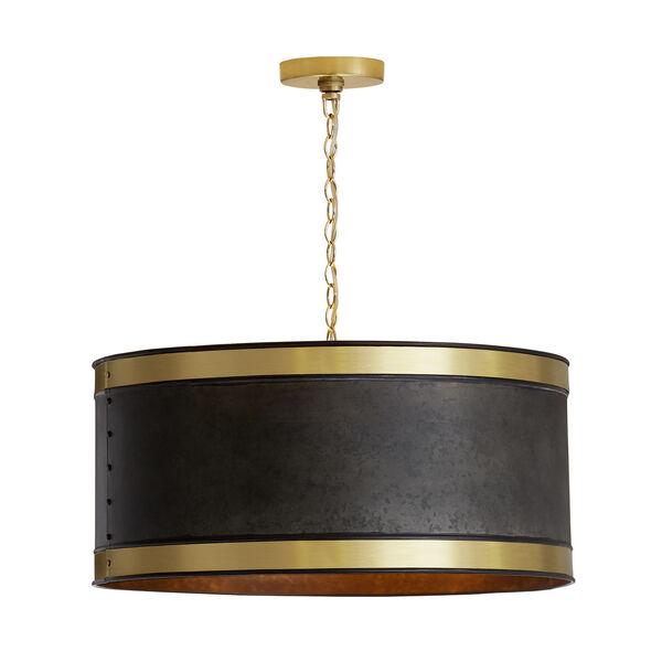 Galvanized Black and True Brass Four-Light Pendant, image 1