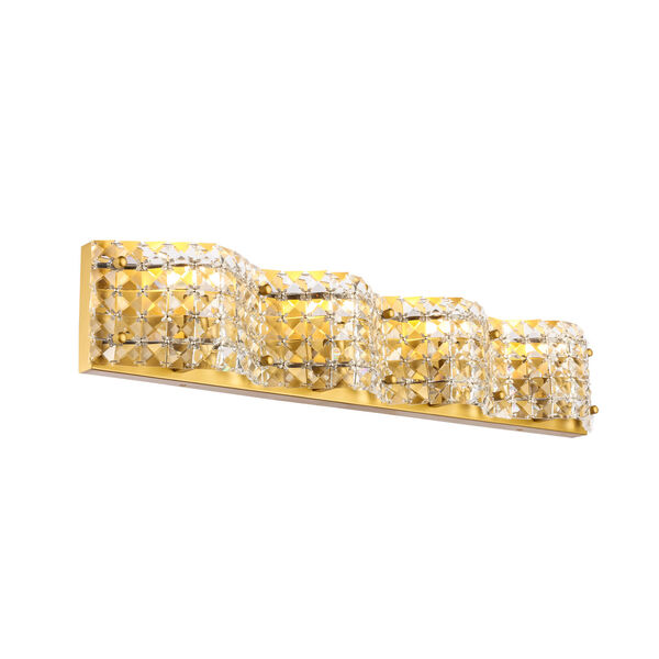 Ollie Brass Four-Light Bath Vanity with Clear Crystals, image 6