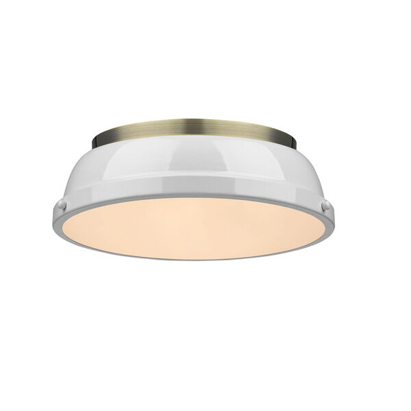 Duncan Aged Brass Two-Light Flush Mount with White Shades, image 1