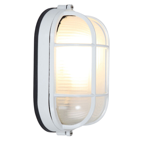 Nauticus White One-Light Outdoor Wall Mount with Frosted Glass and Metal Cage, image 2