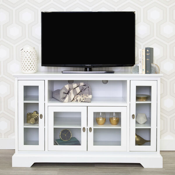 52-inch Highboy Style Wood TV Stand - White, image 1