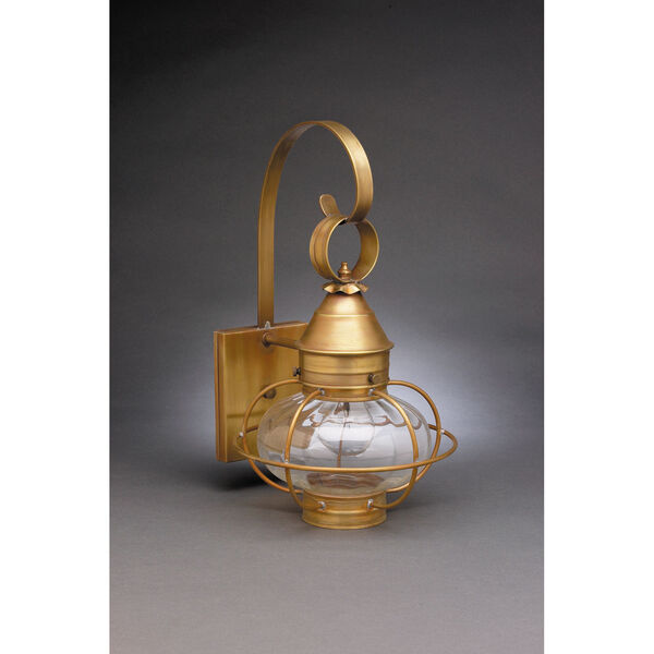 Onion Antique Brass One-Light Nine-Inch Outdoor Wall Mount with Optic Glass, image 1
