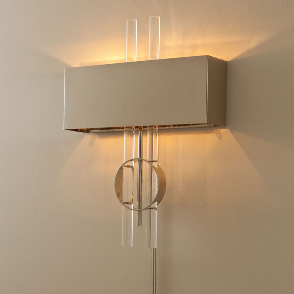 Radio City Hardwired Nickel Two-Light Wall Sconce, image 1