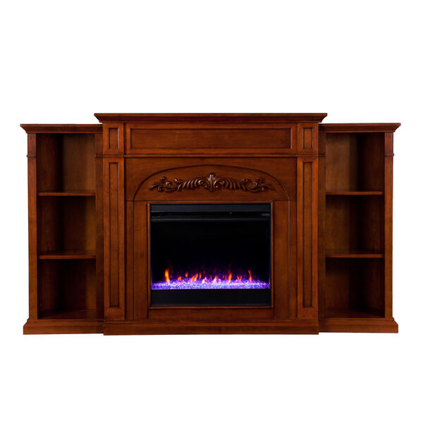 Chantilly Autumn oak Color Changing Electric Firplace with Bookcase, image 4