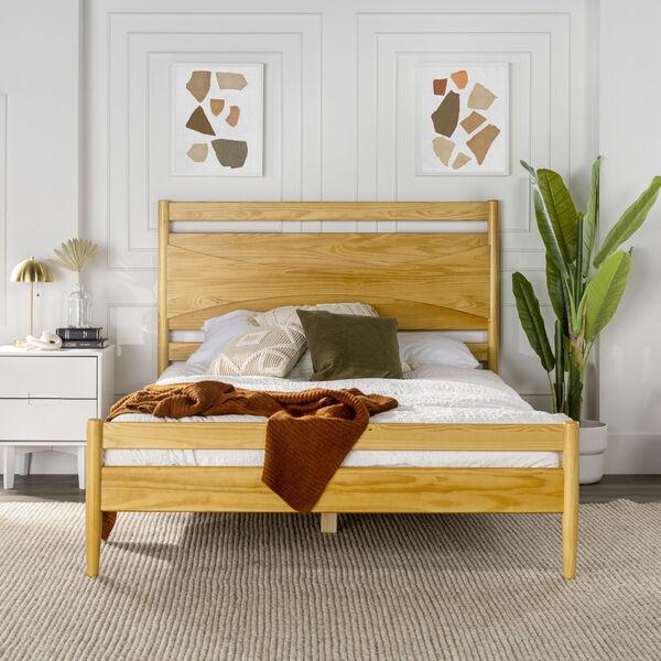 Atticus Light Oak Beveled Headboard Solid Wood Queen Bed, image 2
