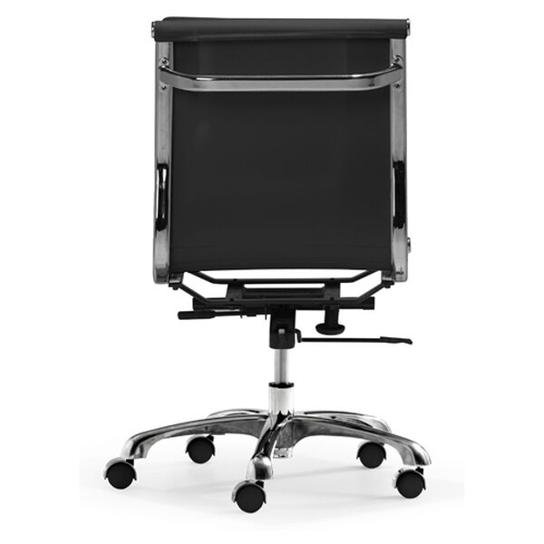 Lider Plus Black and Chromed Steel Armless Office Chair, image 4