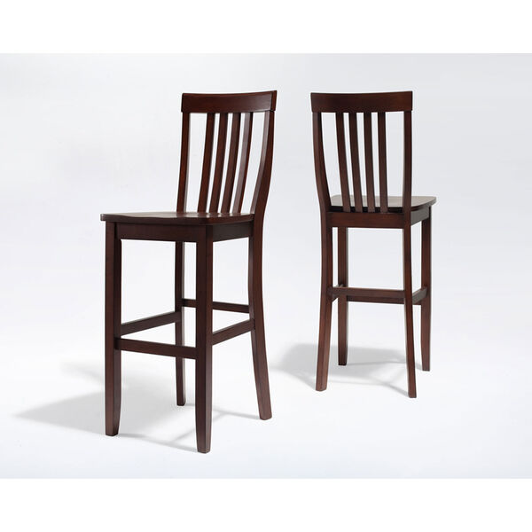 School House Bar Stool in Mahogany Finish with 30 Inch Seat Height- Set of Two, image 3