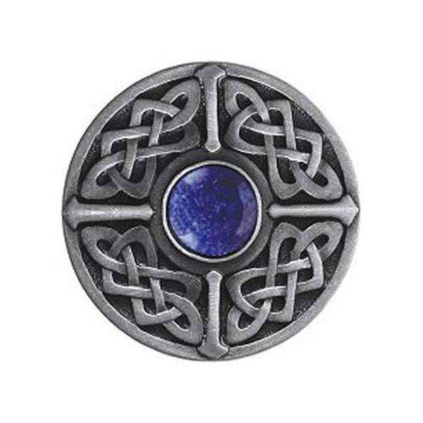 Pewter Blue Sodalite Celtic Jewel Knob , image 1