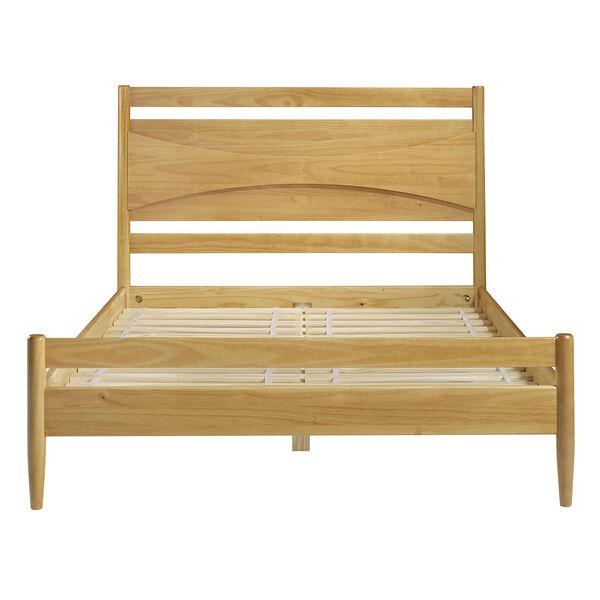 Atticus Light Oak Beveled Headboard Solid Wood Queen Bed, image 4