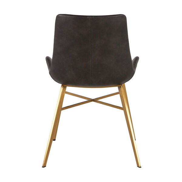 Hines Charcoal Brown and Gold Dining Chair, image 3