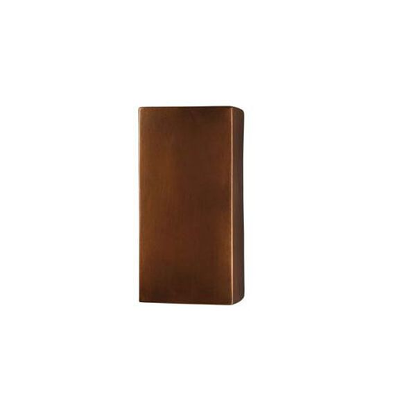 Ambiance Antique Copper LED Large Rectangular Outdoor Wall Sconce with Opened Top and Bottom, image 1