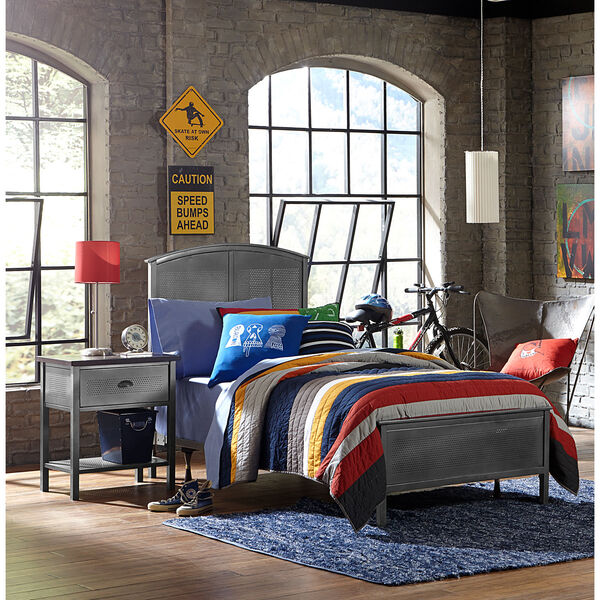 Urban Quarters Black Steel Panel Twin Complete Bed, image 1