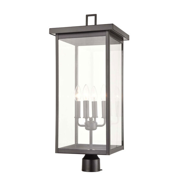 Barkeley Powder Coat Bronze Four-Light Outdoor Post Lantern With Transparent Glass, image 1