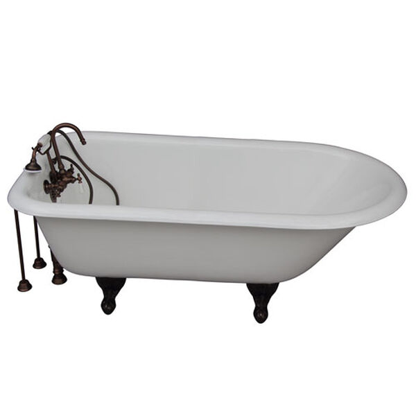 Oil Rubbed Bronze Tub Kit 67-Inch Cast Iron Roll Top, Tub Filler, Supplies, and Drain, image 1