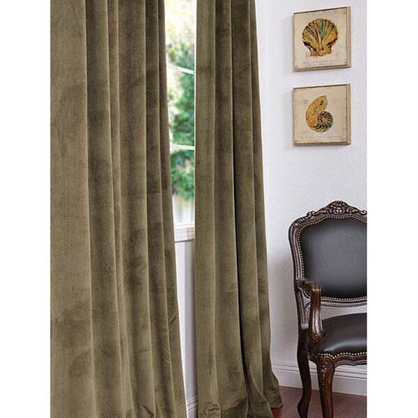 Signature Hunter Green Blackout Velvet Pole Pocket Single Panel Curtain, 50 X 108, image 1