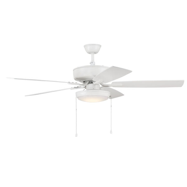 Pro Plus White 52-Inch LED Ceiling Fan with Frost Acrylic Pan Shade, image 3
