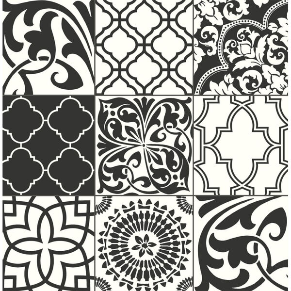 NextWall Black and White Graphic Tile Peel and Stick Wallpaper, image 2