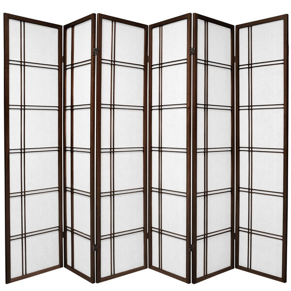 6 ft. Tall Double Cross Shoji Screen - Walnut - 6 Panels, image 1