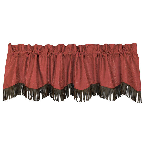 Cheyenne Red 84 x 18-Inch Valance with Fringe, image 1